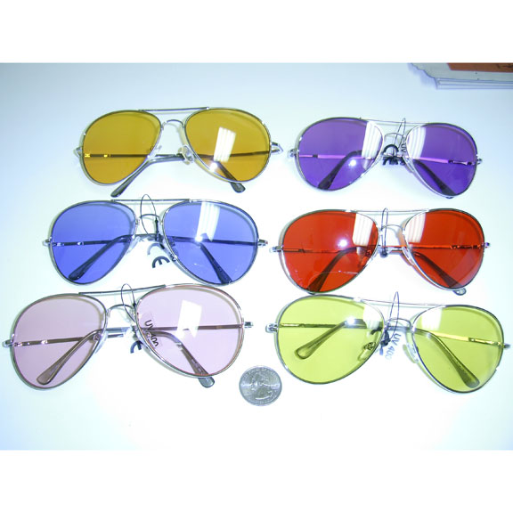 AVIATOR SILVER FRAMES, COLOR LENSES SPRING TEMPLE SUNGLASSES